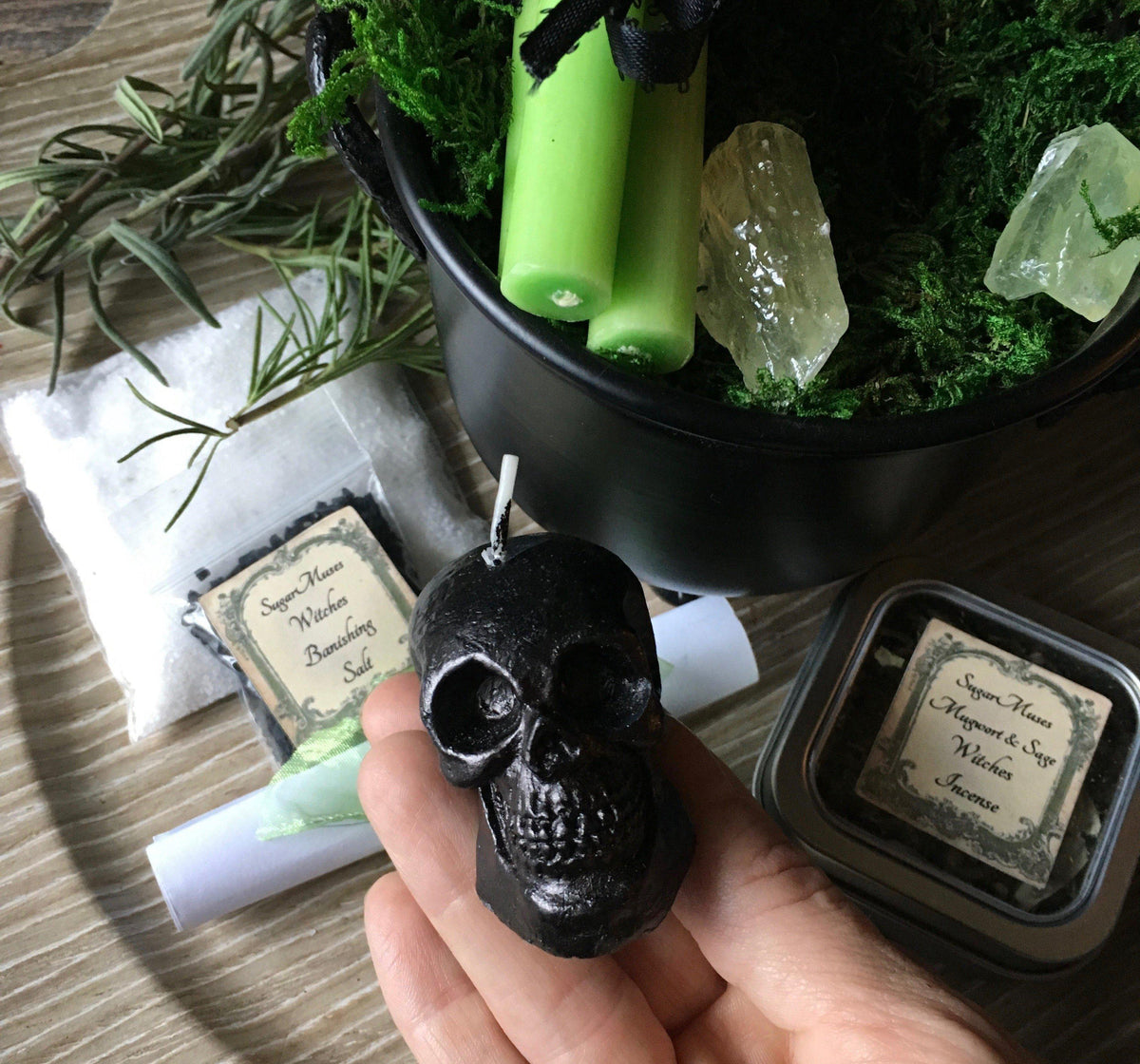 Witchy Cauldron Gift Set with Skull Candle, altar supply - SugarMuses