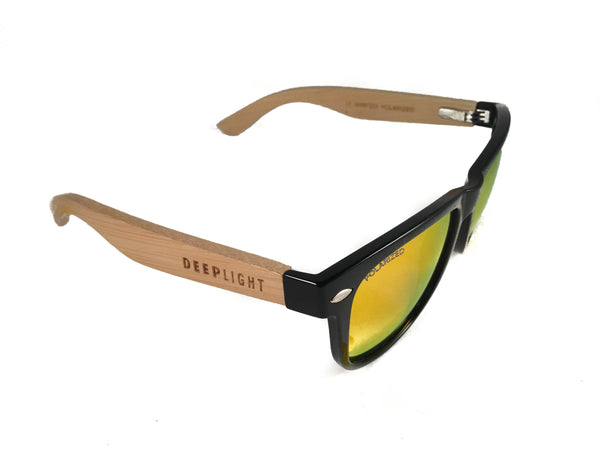 Gafas de Sol DEEP LIGHT Madera Bamboo Gold Coast lente polarizada roja Lateral