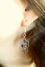 Silver Honeycomb with Bee Earings