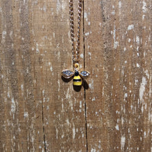 GOLDEN BEE WITH RHINESTONE WING NECKLACE