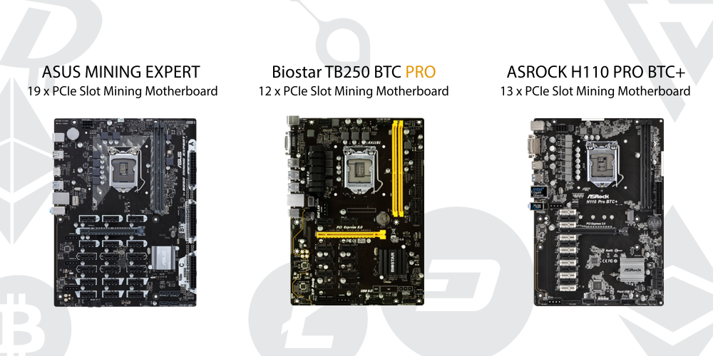 Mining motherboards for crypto mining