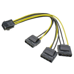 6 Pin PCIe to 3x Molex 4 Pin 12v Power Cable