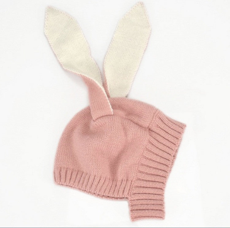 Rabbit knitted all in one hat and earmuffs