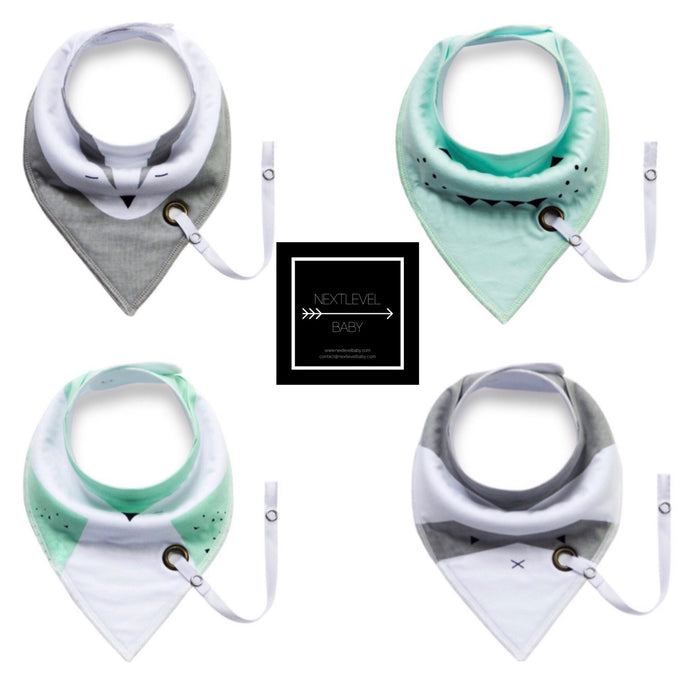 Bandana Bibs with Pacifier attachment (4pk) - UNISEX