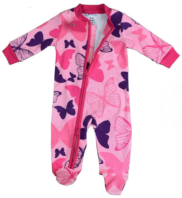 100% Organic Cotton Zipper BabyGrow - GIRLS