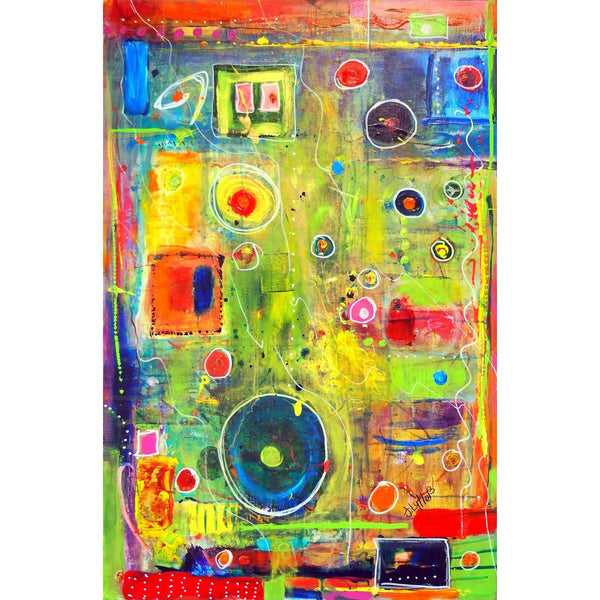 Original Artwork EYES ON YOU, 26 in x 38 in, Unique Abstract Mixed Media Art Painting Framed by Artist J Lytle