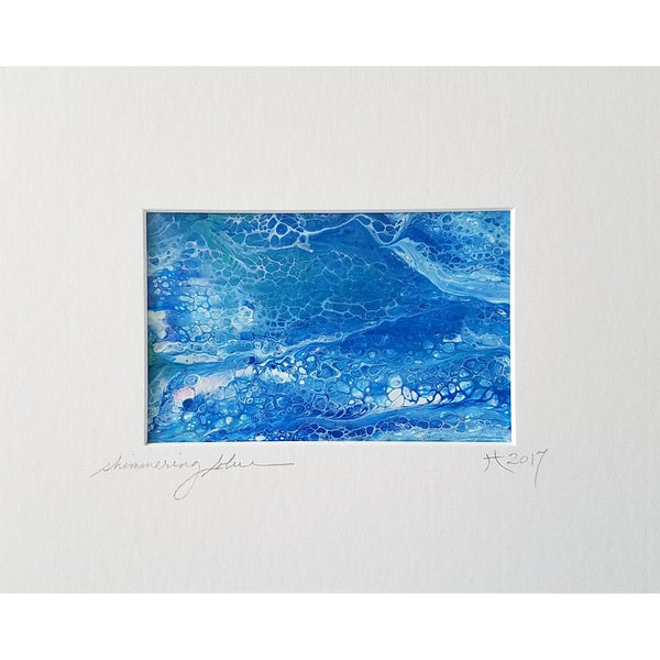 Original Artwork, SHIMMERING BLUE, 8 in x 10 in, Unique Abstract Mixed Media Art Painting Matted and Ready to Frame by Artist Tristina Dietz Elmes