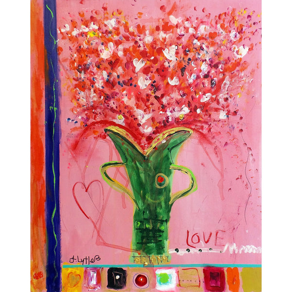 Original Artwork LOVE POWER, 30 in x 24 in, Unique Abstract Floral Mixed Media Art Painting by Artist J Lytle