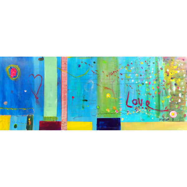 Original Artwork CITY LIFE, 16 in x 40 in, Unique Abstract Art Painting by Artist J Lytle