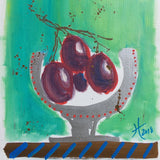 Original Artwork PLUMS IN A CHALICE, 11 in x 14 in, Unique Art Oil Painting Matted and Ready to Frame by Artist Tristina Dietz Elmes