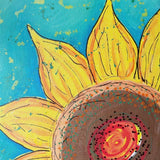 Original Artwork SUNFLOWER SHINE 5, 11 in x 14 in, Unique Art Oil Painting Matted and Ready to Frame by Artist Tristina Dietz Elmes