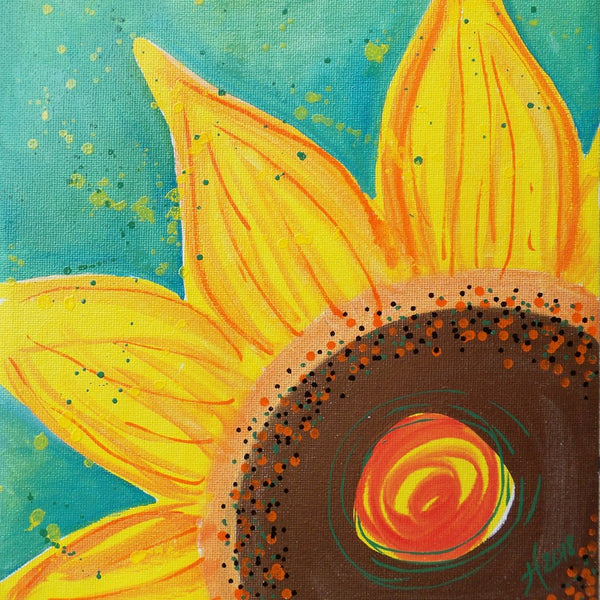 Original Artwork SUNFLOWER SHINE 4, 11 in x 14 in, Unique Art Oil Painting Matted and Ready to Frame by Artist Tristina Dietz Elmes