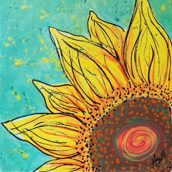 Original Artwork SUNFLOWER SHINE 2, 11 in x 14 in, Unique Art Oil Painting Matted and Ready to Frame by Artist Tristina Dietz Elmes