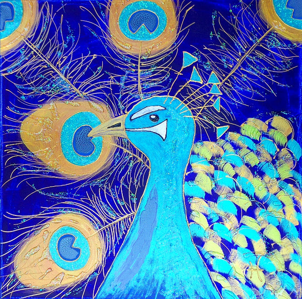 Original Artwork PEACOCK GLORY, 20 in x 20 in, Unique Shimmery Peacock Painting on Canvas by Artist Tristina Dietz Elmes