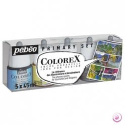 Pebeo Colorex Watercolor Ink Set of 5 Mixing Colors 45 ml Bottles