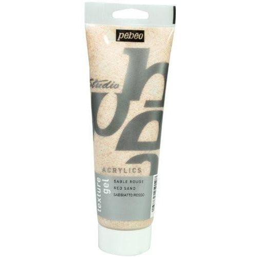 Pebeo Studio Acrylics Sand Texture Gel - 250ml Tube - Red
