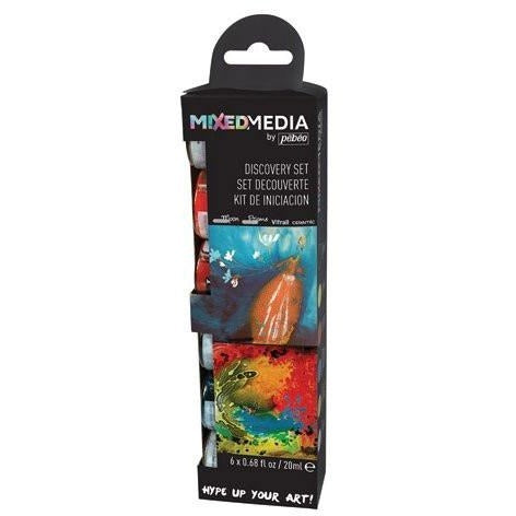 Pebeo Mixed Media Discovery Set of 6 Assorted Liquid Oil-based Paint Colors, 20 ml bottles Vitrail / Prisme / Moon / Ceramic