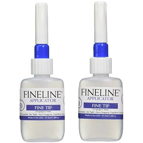 Fineline Applicator 2/Pack 20-Gauge Fine Tip Applicator Bottles, 1.25-Ounce, Empty