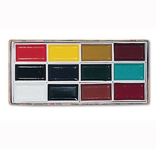 Yasutomo Sumi Water Soluble Ink Pans Colorfast Color Set, Assorted Colors, Set of 12