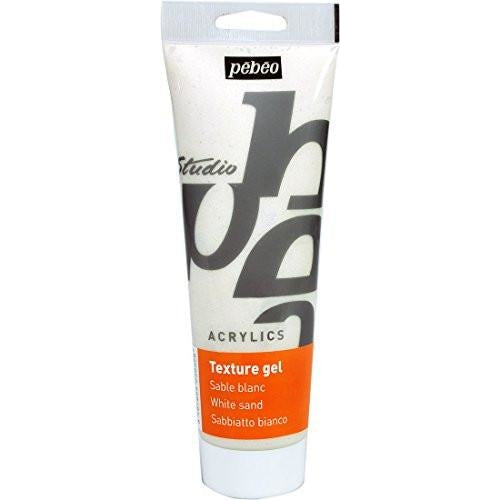 Pebeo Studio Acrylics Sand Texture Gel - 250 ml Tube - White