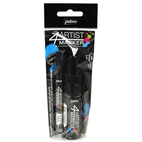 Pebeo 4Artist Marker Duo Set, 2mm + 8mm, Black
