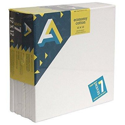 Art Alternatives Economy Artist White Canvas Super Value Pack - 12 x 12 inches - Pack of 7