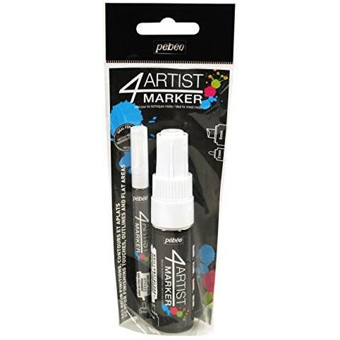 Pebeo 4Artist Marker Duo Set, 2mm + 8mm, White