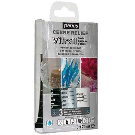 Pebeo Vitrail Cerne Relief Outliner Dimensional Paint Set , 3 - 20 ml tubes, Black / Silver / Transparent