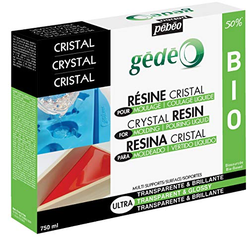 PEBEO Crystal Casting Resin Kit, High Shine, Glossy Finish, Eco-Friendly Formula, for Use in Silicone Molds, Crafting Supplies, 750 ml, Gedeo Transparent Bio Resin