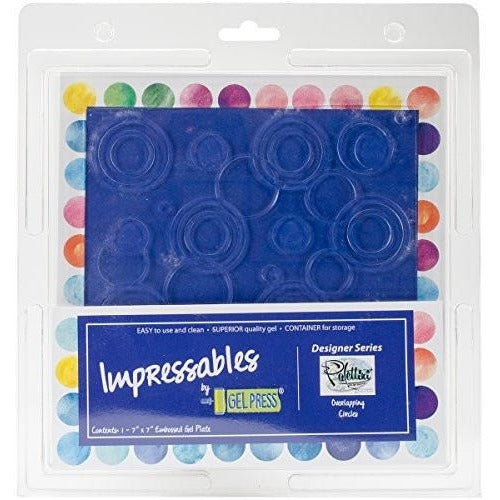 Gel Press Impressables 7 X 7 Inch Embossed Reusable Gel Plate - Overlapping Circles