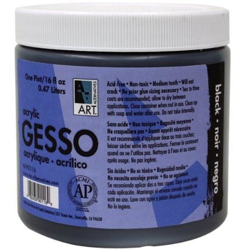 Art Alternatives Acrylic Black Gesso - 16 oz Jar
