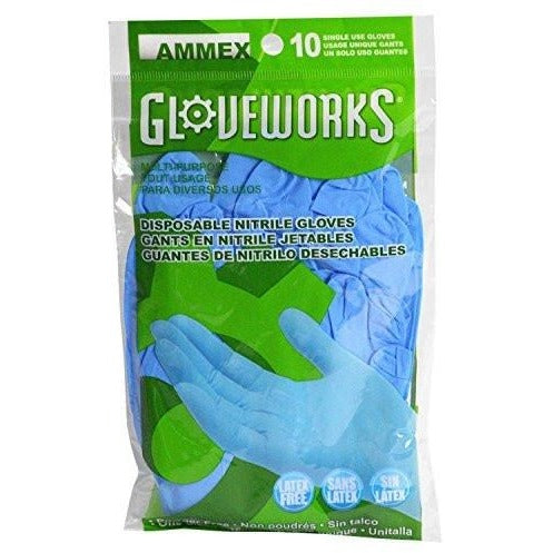 Nitrile Gloves - Gloveworks - 10/pack, Disposable, Powder Free, Industrial, 4 mil, Uni-size, Blue