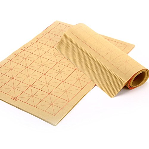 Teagas Chinese Calligraphy Brush Ink Writing Grid Sumi Paper/Xuan Paper/Rice Paper for Chinese Calligraphy Brush Writing Sumi Set