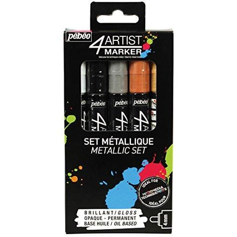 Pebeo 4Artist Marker Set, 5 x 4mm, Metal Metallic Colors