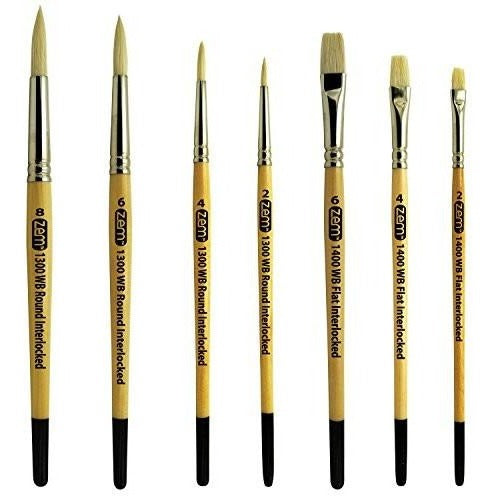 Oil Acrylic Encaustic Natural Hog Bristle Artist Brush Set Rounds Sizes 2,4,6,8 and Flats Sizes 2,4,6