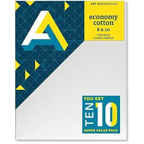 Art Alternatives Economy Artist White Canvas Super Value Pack - 8 x 10 inches - Pack of 10