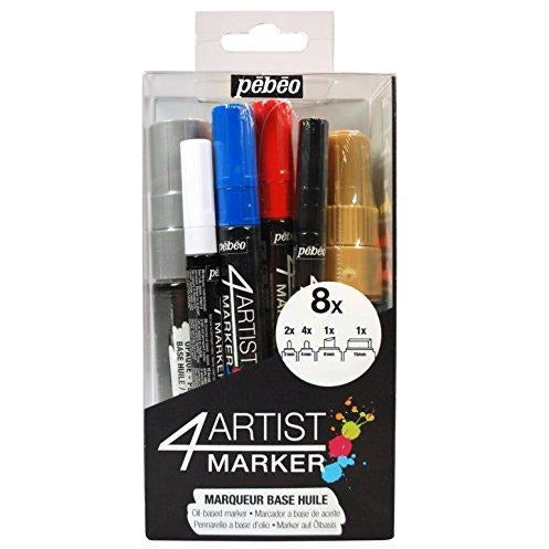 Pebeo 4Artist Set, 8 Assorted Markers 8