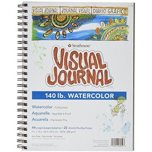 Strathmore Spiral Bound Visual Art Journal Watercolor Paper Book with 140 lb, 9 x 12 Inch, 22 Sheets