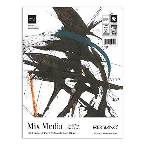 Fabriano Mixed Media Paper Pad 108 lb, 9 x 12 Inches, 150 Sheets