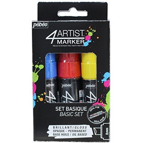 Pebeo 4Artist Marker Set, 3 x 8mm, Basic