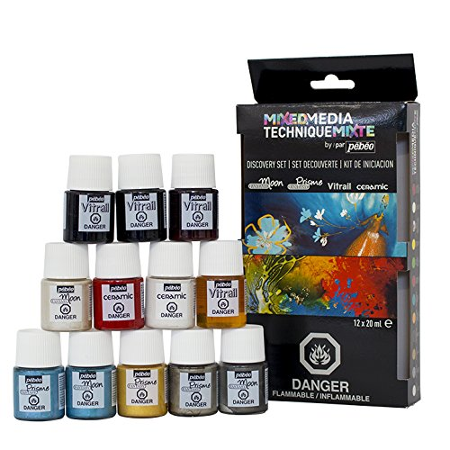 Pebeo Mixed Media Discovery Set of 12 Assorted Liquid Oil-based Paint Colors, 20 ml bottles Vitrail / Prisme / Moon / Ceramic