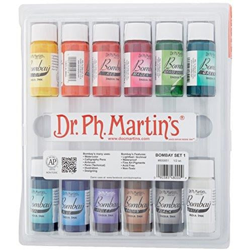 Dr. Ph. Martin's Bombay India Ink Bottles, 0.5 oz, Set of 12