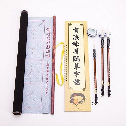 Chinese & Japanese Magic Rewritable Calligraphy Water Writing Fabric Cloth Brush Pen Set With Character Book, Inkless