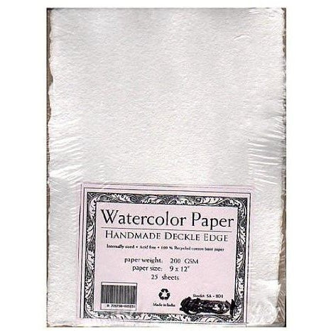 "Shizen Design SA-801 Punjab Acid-Free Handmade Watercolor Paper, 90 lb,  100% Cotton, 9"" x 12"" Size, Natural White (Pack of 25)"