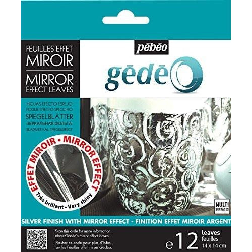 Pebeo Gedeo Gilding Mirror Effect Metal Leaf Transfer Foil - Silver, 12 Sheets