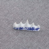 JUNDA Ceramics Writing Brush Holders Calligraphy Chinese Brush Racks Brush Pen Rests Blue and White Porcelain Plum Blossom,3PCS