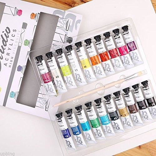 Pebeo Studio Acrylics Assorted Color Paint Tubes Including 1 Brush, 20 ml Set of 20