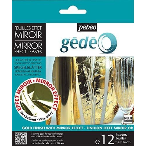 Pebeo Gedeo Gilding Mirror Effect Metal Leaf Transfer Foil - Gold, 12 Sheets