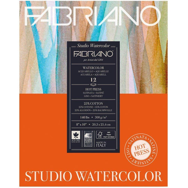 Fabriano Studio Hot Press Smooth Watercolor Paper 140 lb, 11 x 14 Inch, 50 Sheets