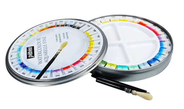 PEBEO Fine Watercolour Palette Kit 24 Half Pans Plus Travel Brush Metal Round Painting Box